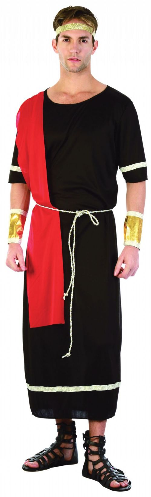 Mens Caesar Black Costume Roman King Ancient Leader Fancy Dress Outfit
